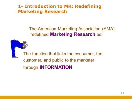 Introduction to MR: Redefining Marketing Research The American Marketing Association (AMA) redefined Marketing Research as: The function that links.