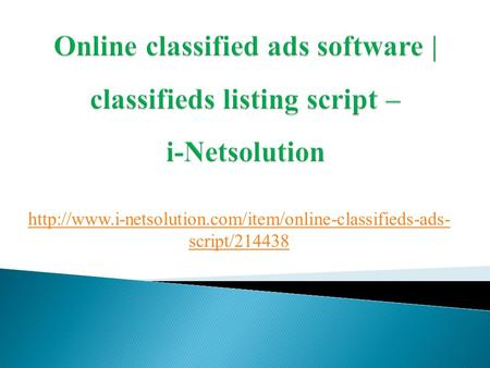 Online classified ads software | classifieds listing script -i-Netsolution