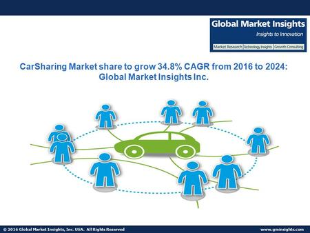 © 2016 Global Market Insights, Inc. USA. All Rights Reserved  CarSharing Market share to grow 34.8% CAGR from 2016 to 2024: Global Market.