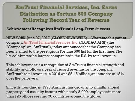 Am trust financial services, inc. earns distinction as fortune 500 company following record year of revenue