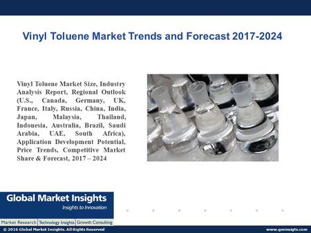 © 2016 Global Market Insights. All Rights Reserved  Vinyl Toluene Market Trends and Forecast Vinyl Toluene Market Size, Industry.