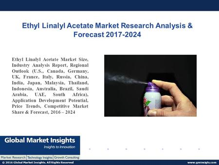 © 2016 Global Market Insights. All Rights Reserved  Ethyl Linalyl Acetate Market Research Analysis & Forecast Ethyl Linalyl.