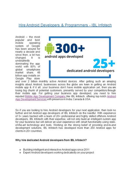 Hire Android Developers & Programmers - IBL Infotech