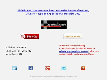 Global Laser Capture Microdissection Market by Manufacturers, Countries, Type and Application, Forecast to 2022 Published: Jun 2017 Single User PDF: US$