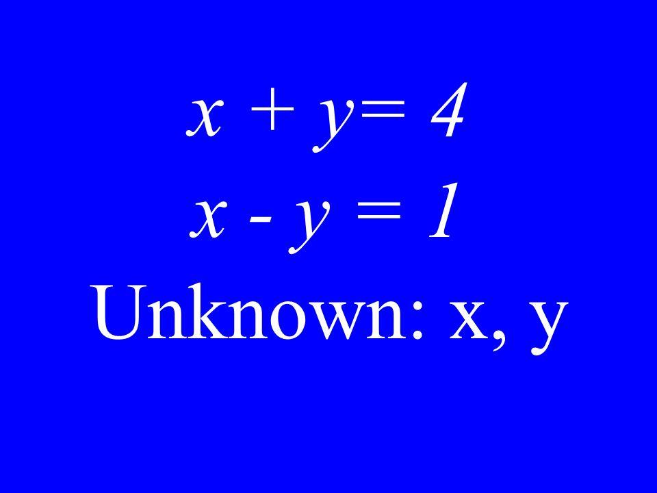 x + y = 4 Unknown: x, y