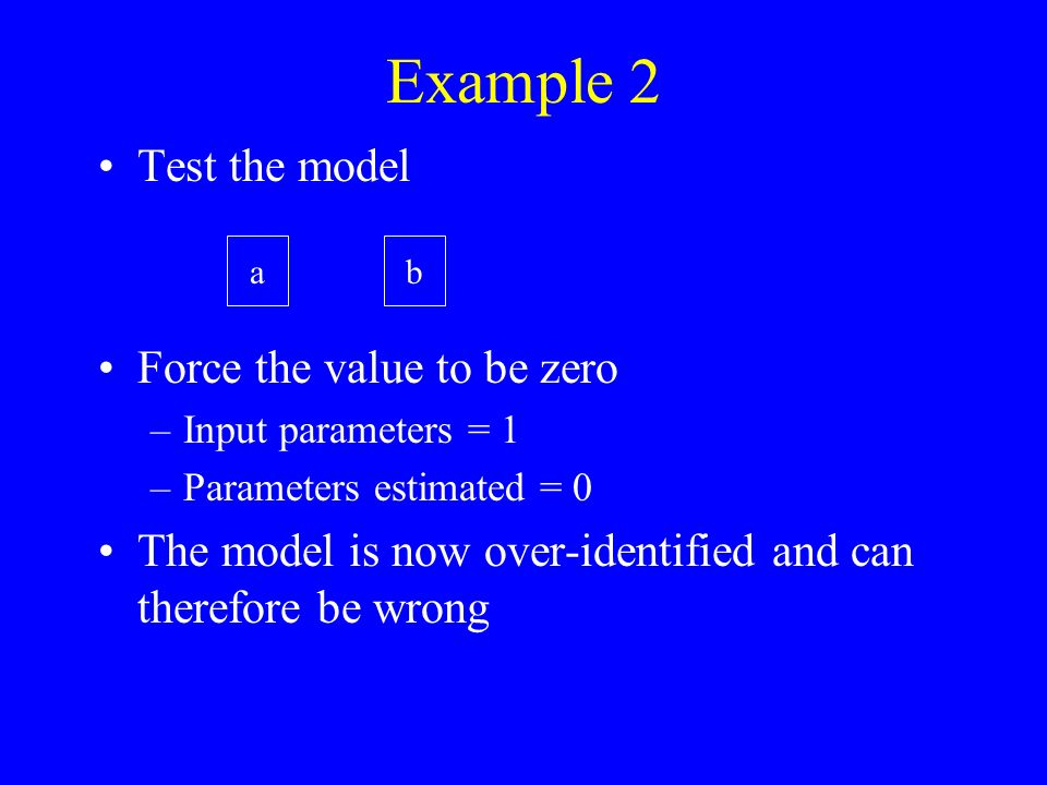 The program gives a 2 statistic The significance of difference between the data and the model –Distributed with df = known parameters - input parameters 2 = 9.337, df = 1 - 0 = 1, p = 0.002 So what.
