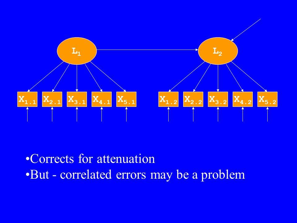 Added correlated errors Example 7b L1L1 X 3.1 X 4.1 X 5.1 X 2.1 X 1.1 L2L2 X 3.2 X 4.2 X 5.2 X 2.2 X 1.2