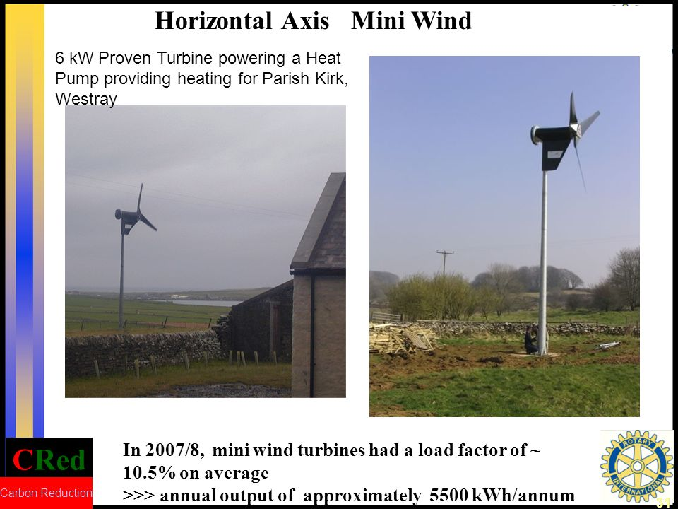 CRed Carbon Reduction 32 Involve the local Community The residents on the island of Burray (Orkney) campaigned for a wind turbine.