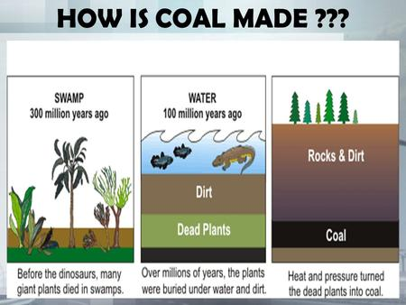 HOW IS COAL MADE ???. HOW ARE OIL AND GAS MADE ???