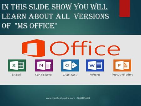IN THIS Slide show YOU WILL LEARN ABOUT ALL VERSIONS OF MS OFFICE