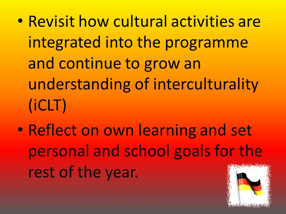 Learning Intention (Specific Learning Outcome = SLO) In this session we are going to learn 11 colours in German: