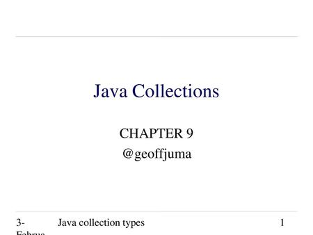 Java Collections CHAPTER 3-February-2003