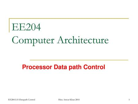 EE204 Computer Architecture