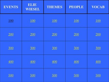 EVENTS ELIE WIESEL THEMES PEOPLE VOCAB 100 100 100 100 100 200 200 200