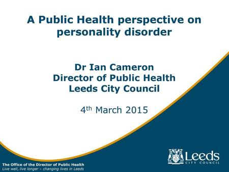 A Public Health perspective on personality disorder
