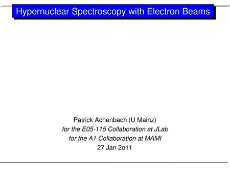 Hypernuclear Spectroscopy with Electron Beams