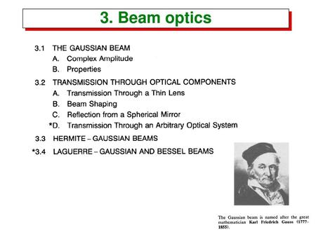 3. Beam optics.