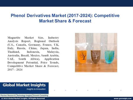 © 2016 Global Market Insights. All Rights Reserved  Phenol Derivatives Market ( ): Competitive Market Share & Forecast Magnetite.