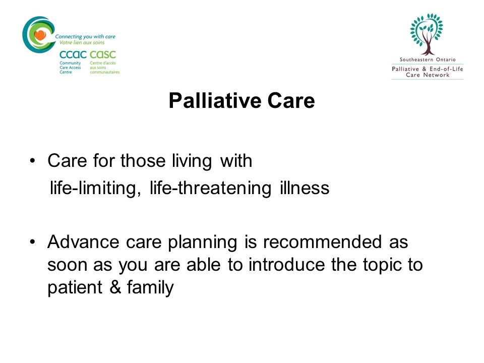 PresentationPresentationDeathDeath Hospice Palliative Care Model for Palliative Care Frank Ferris Oct 2005 Therapies to modify disease End-of-life Care Therapies to relieve suffering and/or improve quality of life Bereavement Care