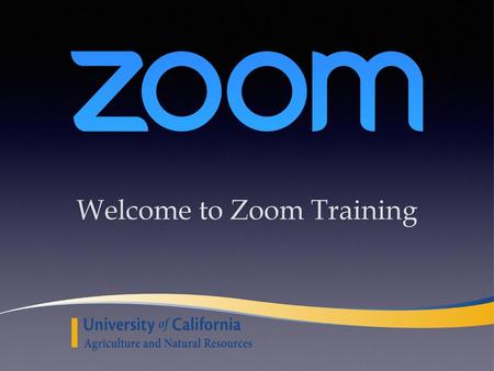 Welcome to Zoom Training