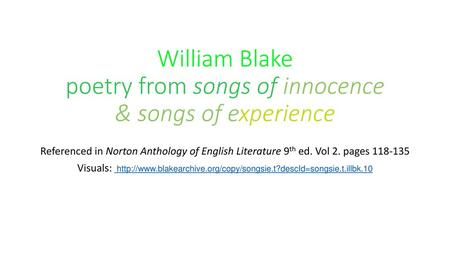 William Blake poetry from songs of innocence & songs of experience