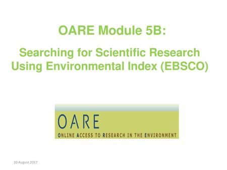 Searching for Scientific Research Using Environmental Index (EBSCO)