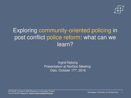 Presentation at NorDoc Meeting