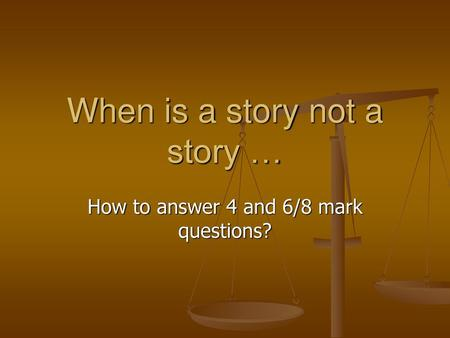 When is a story not a story …