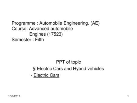 PPT of topic § Electric Cars and Hybrid vehicles - Electric Cars