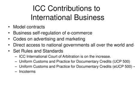 ICC Contributions to International Business