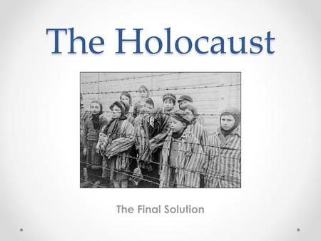 The Holocaust The Final Solution.