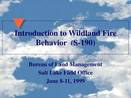 Introduction to Wildland Fire Behavior (S-190)