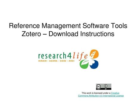 Reference Management Software Tools Zotero – Download Instructions