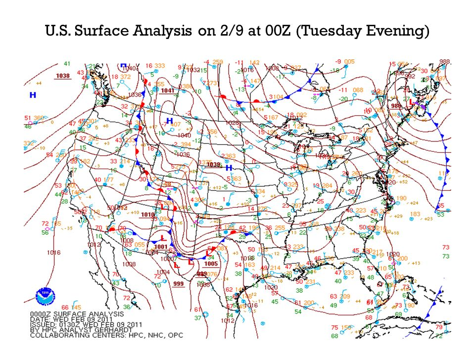 N.C. Surface Analysis on 2/9 at 00Z (Tuesday Evening)