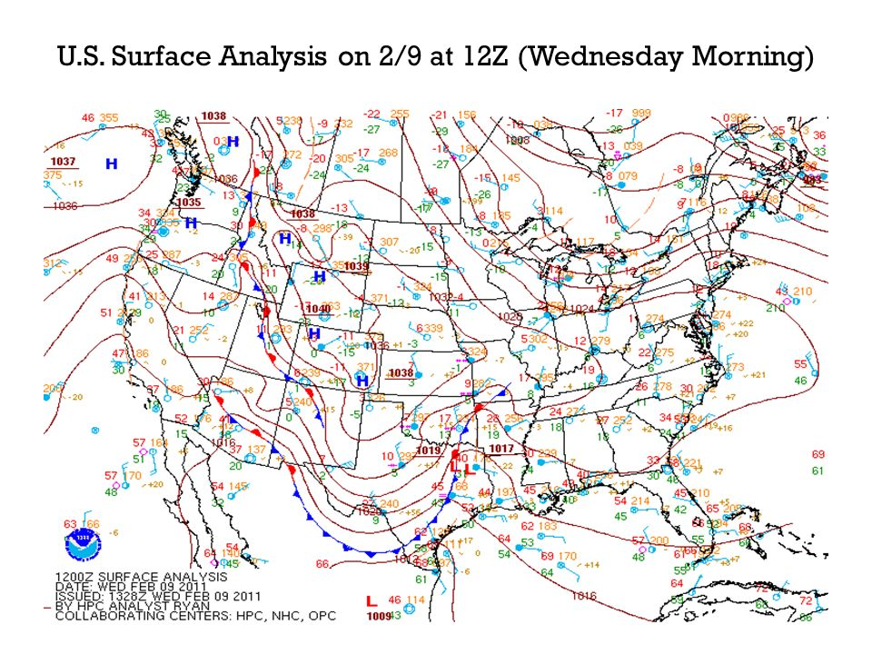 N.C. Surface Analysis on 2/9 at 12Z (Wednesday Morning)