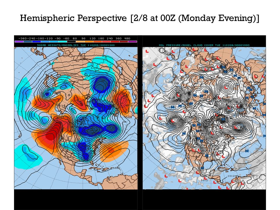 U.S. Surface Analysis on 2/8 at 00Z (Monday Evening)