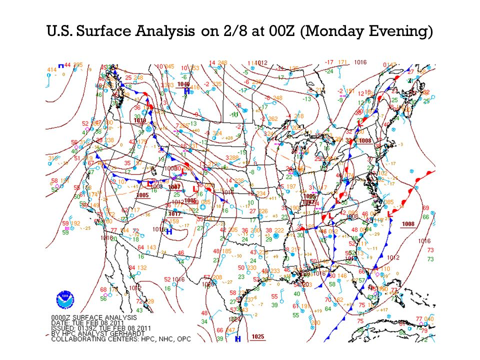 N.C. Surface Analysis on 2/8 at 00Z (Monday Evening)