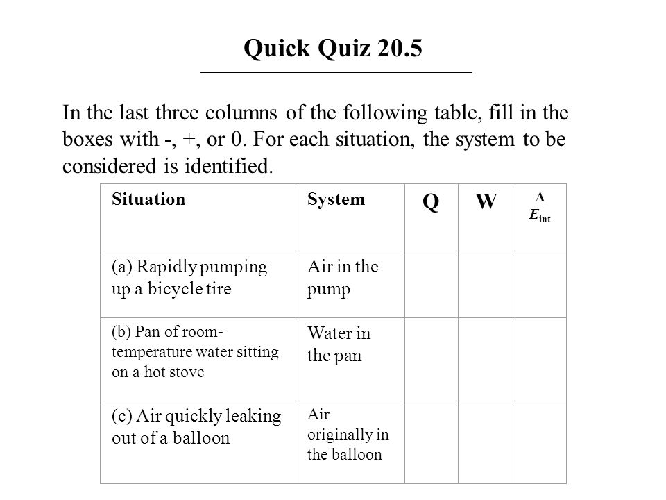 Answer: Quick Quiz 20.5 SituationSystemQW Δ E int (a) Rapidly pumping up a bicycle tire Air in the pump 0++ (b) Pan of room- temperature water sitting on a hot stove Water in the pan +0+ (c) Air quickly leaking out of a balloon Air originally in the balloon 0--