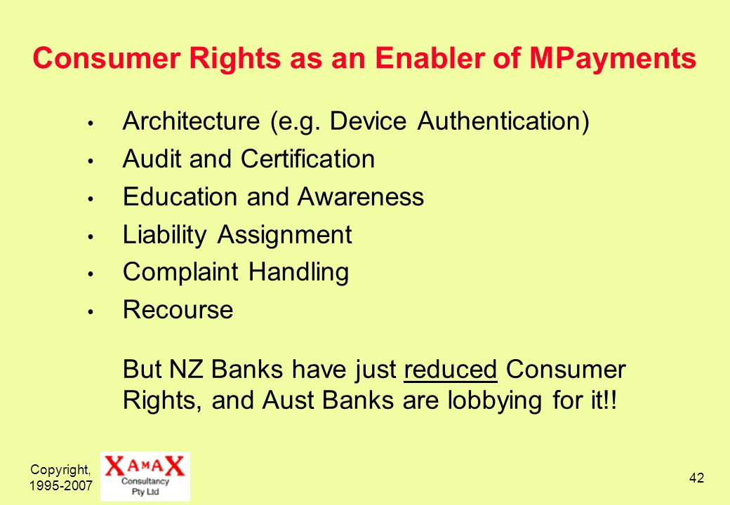 Copyright, 1995-2007 43 Can Mobile Payments be Secure Enough.