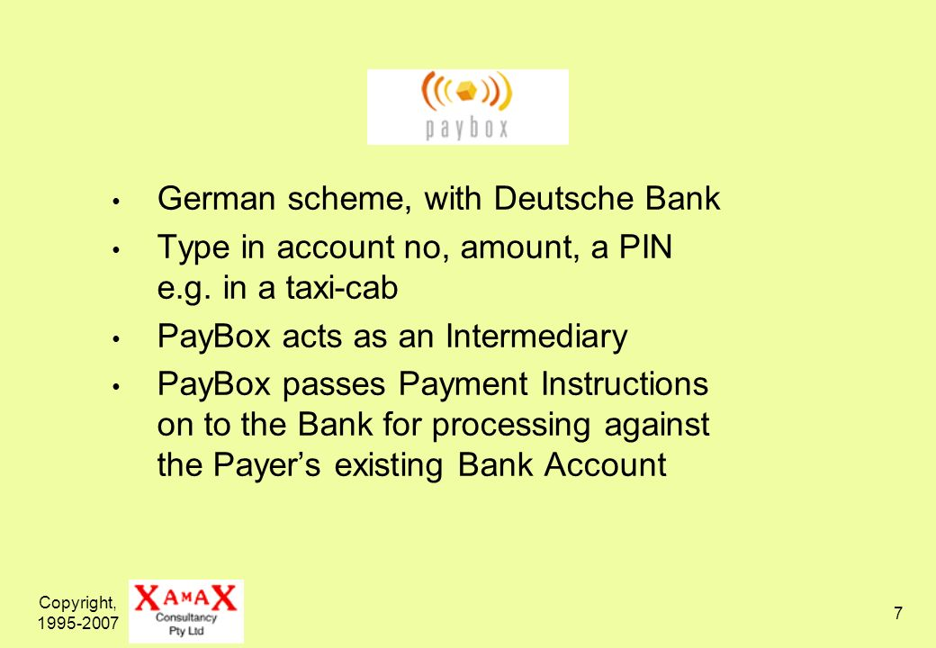 Copyright, 1995-2007 8 Links an Account with the Intermediary to: an existing bank account; and/or an existing credit card but is now becoming a card-issuer as well Passes on Payment Instructions sent from: web-browser touch-tone to IVR SMS / text-messages Imposes punitive terms and fees