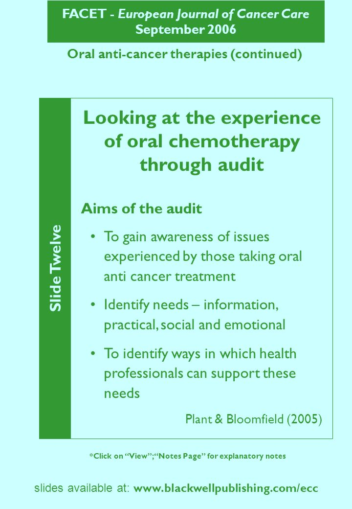 FACET - European Journal of Cancer Care September 2006 Slide Thirteen *Click on View; Notes Page for explanatory notes slides available at: www.blackwellpublishing.com/ecc Oral anti-cancer therapies (continued) Findings: Information Additional information needs before commencing treatment: How and when to take.
