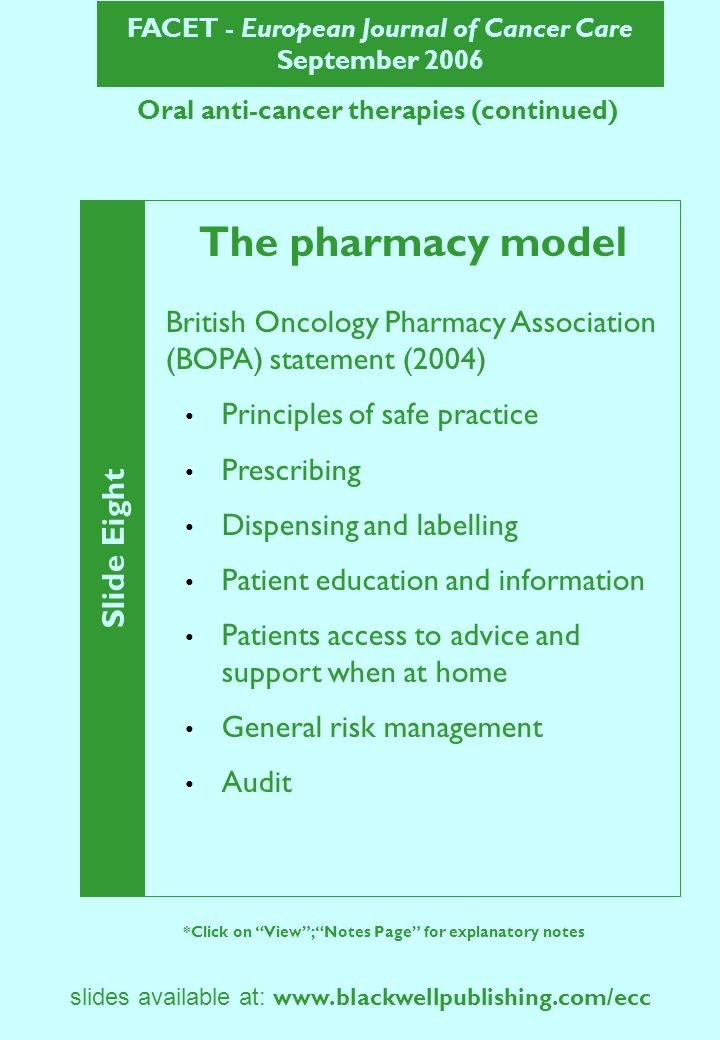 FACET - European Journal of Cancer Care September 2006 Slide Nine *Click on View; Notes Page for explanatory notes slides available at: www.blackwellpublishing.com/ecc Oral anti-cancer therapies (continued) The pharmacy model – implementing BOPA recommendations Established oral chemotherapy working party Purpose Achievements Future plans