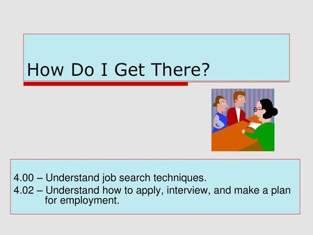 How Do I Get There? 4.00 – Understand job search techniques.