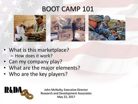 BOOT CAMP 101 What is this marketplace? Can my company play?