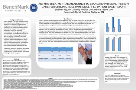 ASTYM® TREATMENT AS AN ADJUNCT TO STANDARD PHYSICAL THERAPY