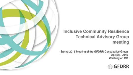 Inclusive Community Resilience Technical Advisory Group meeting