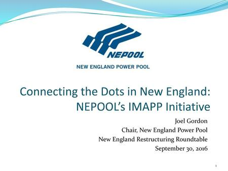 Connecting the Dots in New England: NEPOOL's IMAPP Initiative