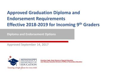 Approved Graduation Diploma and Endorsement Requirements Effective 2018-2019 for Incoming 9th Graders Diploma and Endorsement Options Approved September.