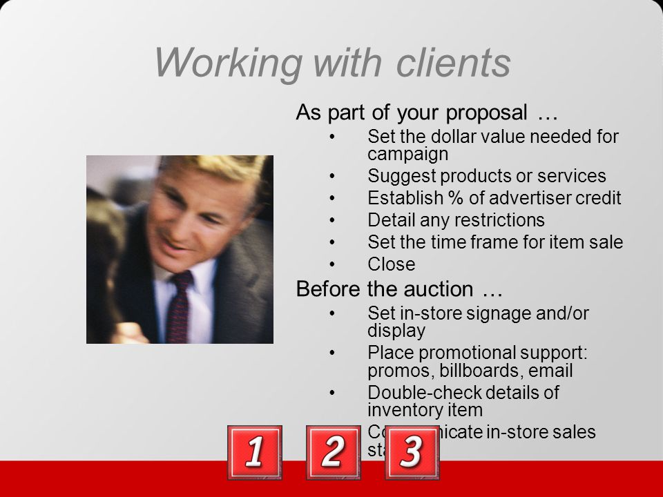 Suggestions for Doing It Better New business only 50% of the schedule Select items you know will sell well – shop for your listeners Consider general certificates whenever possible Require management review before finalizing any agreement Use to reduce bad debt Apply credit only after an item is sold