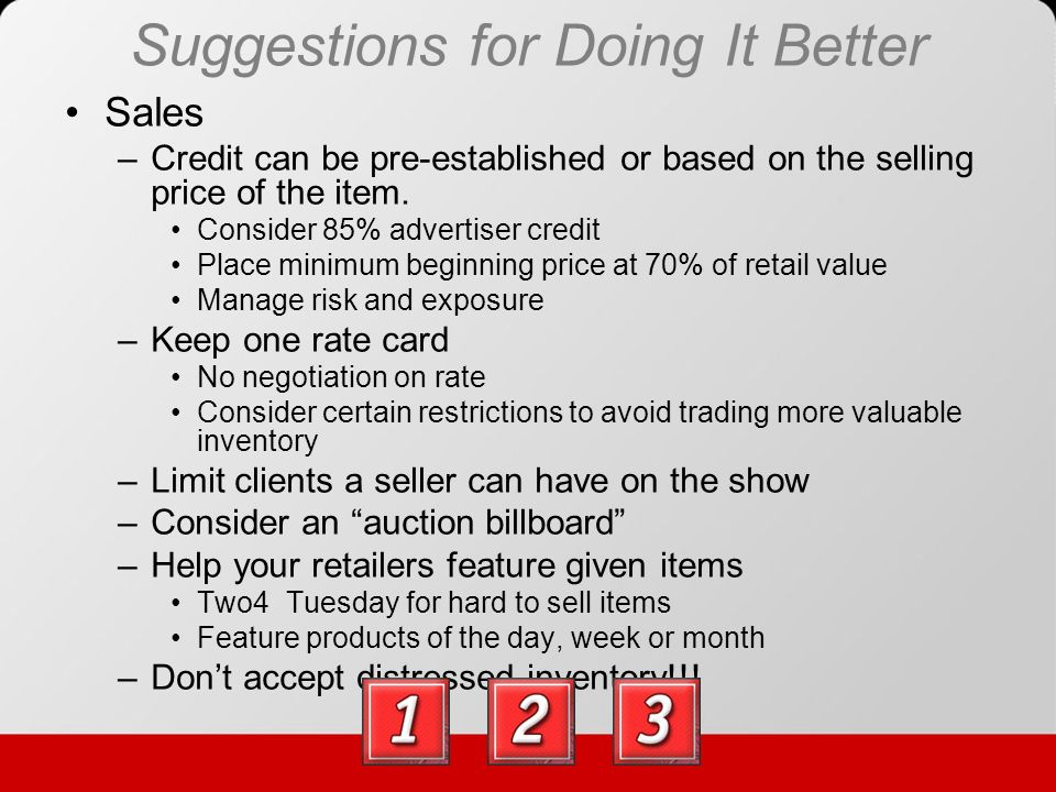 Suggestions for Doing It Better Other Ideas –Number certificates and make them look valuable –Certificate expirations dates (60 days) –Use customer email address to id successful bidders –Leave your auction open 24/7 –Dont set prices to low